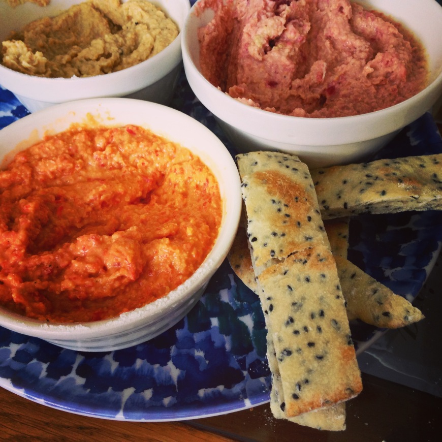 pitta bread and houmous three ways